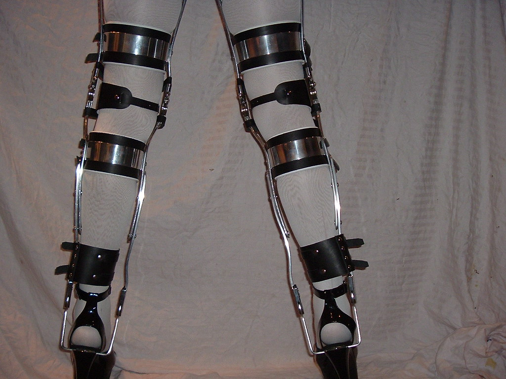 19307606e83 Black KAFO Leg Braces with Double Buckled Cuffs  amp  Polished Rear Bands  (KAFOmaker)