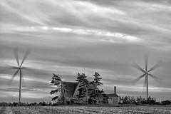 Turbines and abandoned farmhouse, PEI (Timothy Neesam (GumshoePhotos)) Tags: pei princeedwardisland turbines wind windmill windturbine farmhouse rurex blackandwhite longexposure multipleexposure fuji fujfilm xt1