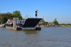 The Chain Ferry at Reedham, Norfolk, crossing the mighty River Yare. 24 08 2016 (pnb511) Tags: riveryare norfolk reedham chain ferry river crossing blue sky water boat carferry broads