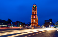 Clock Tower - Sialkot. Pakistan (Aleem Yousaf) Tags: clock tower iqbal square light trails traffic hour long exposure sialkot pakistan nikon 1835mm d800 outdoor building architecture