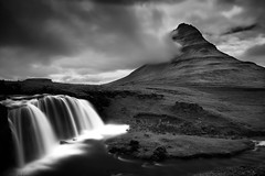Falls & Kirkju (Marshall Ward) Tags: iceland kirkjufell waterfall landscape 2014 roadtrip mono blackwhite nikond800 afszoomnikkor2470mmf28ged marshallward mwardphotographycom