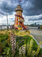 George Irvin's Helter Skelter (d2francis2) Tags: helterskelter funfair greenwich flower plants wideangle clouds london uk england great britain unionjack flag river thames sony a7r