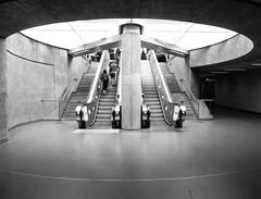 Below Stairs III (Douguerreotype) Tags: monochrome circle underground concrete city bw uk metro escalator british england mono blackandwhite stairs subway britain gb london symmetry tunnel urban people steps tube