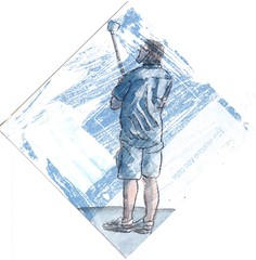# 234 (21-08-2016) (h e r m a n) Tags: herman illustratie tekening bock oosterhout zwembad 10x10cm 3651tekenevent tegeltje drawing illustration karton carton cardboard male man phone photo photographer iphone selfie zelf zelfje zelfportret selfportrait selfiestick statief