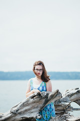Summer Vibes (MissZiyal3) Tags: portraits beach ocean pnw seattle pugetsound summervibes wind windblownhair blue vsco lightroom4 canon canon6d kodak portra 800