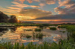 Summer freshness (piotrekfil) Tags: nature landscape water waterscape river riverside sunset sky clouds reflections pentax poland piotrfil