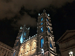 A church... on Sunday (69) - Some night (Jean S..) Tags: church iphone blue white lights sky clouds tower night city