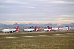 Qantas mass storage (Gerry Rudman) Tags: boeing 747400 767300 victorville california qantas
