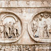Rome, Italy- Close up of reliefs on The Arch of Constantine, located east of the Roman Forum. This commemorative structure is the largest surviving Roman triumphal arch and was dedicated to Roman Emperor Constantine after he was victorious during the batt