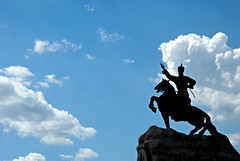 untitled (chinggis square - ulaan baatar, mongolia) (bloodybee) Tags: 365project chinggissquare ulaanbaatar mongolia asia statue man horse sky clouds silhouette backlight blue