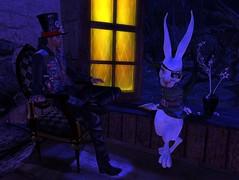 Noel and Zep Dysphoria (texangelNoel) Tags: dysphoria dysphorians aliceinwonderland sim teaparty whiterabbitshouse bunny bunneh unicorn fox foxie foxx muffin zep mark nimz helenacasey madhatter hats costumes celebrate welcomeback