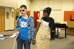 Vlad and Alice at NEHS (Mobility International USA) Tags: flexyes youth classroom blind amputee twopeople whitecane