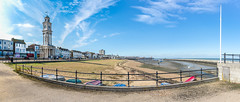 Herne Bay Panorama (DobingDesign) Tags: kent hernebay beach clocktower seaside bythesea clouds bluesky railings panorama sea boats cirrus outoor pier bay water ocean seaweed outdoor clock curve coast