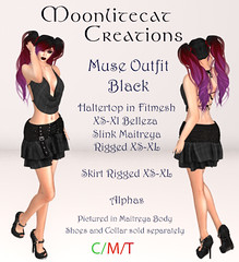 Muse Outfit Black Ad Pic (moonlitecat) Tags: hunt your inner slut moonlitecat creation mesh slink belleze maitreya fimesh rigged high heel collar gacha spikes leather punk skirt haltertop halter top laced vest mens men women womens moon moonlite hudded texture change