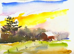 Indian Summer Sunset Over an Amish Pasture (Artist Naturalist-Mike Sherman) Tags: november art rural landscape michigan farm transparent onlocation notphotography midwestern watercolorpainting pleinaire midmichigan danielsmithwatercolors