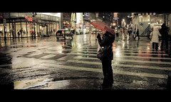 Midnight movie (Dj Poe) Tags: street new york city nyc light red people snow cinema ny wet rain umbrella canon photography eos women dj mark manhattan candid andrew ii 5d cinematic poe available 2012 mohrer zf2 5dmkii 5dmk2 distagont225