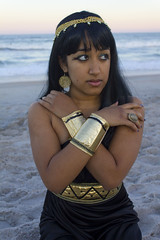 (Kyra Rosa Photographer) Tags: sunset sky black beach gold necklace sand waves vibrant egypt style jewelry diana egyptian earrings morel sheer blackdress headpiece jewelrey egyptianstyle dianamorel