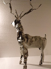 tea bag tin reindeer. (Slackgirl) Tags: sculpture metal reindeer tin upcycled dangercraft