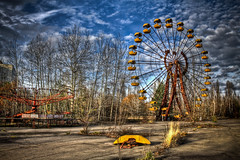0308 - Ukraine, Pripyat, Ferris Wheel HDR (Barry Mangham) Tags: trees sky abandoned fairground accident decay radiation nuclear ukraine forgotten disaster ghosttown deserted hdr chernobyl  pripyat  prypiat