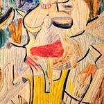 """<b>Woman and Bicycle, 1952-53 (after: Willem de Kooning)</b><br/> Rebecca Kamm (Art Quilt, 2011)<a href=""""http://farm9.static.flickr.com/8345/8200572270_58ceae144c_o.jpg"""" title=""""High res"""">∝</a>"""