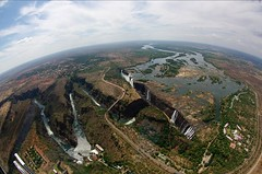 river falls (philliefan99) Tags: africa nature water waterfall aerial fisheye helicopter zimbabwe victoriafalls zambia zambeziriver victoriafallsbridge mosioatunya victoriafallsrainforestpreserve