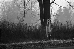 The Ghost Bike Commemorating Curt Dombecky, 4/23/1948-7/14/2012 (joeldinda) Tags: bw bike bicycle fog bicycling memorial raw michigan ghostbike grandledge joeldinda 1v1 becarefuloutthere 326366 3662012