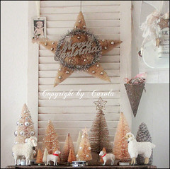 Bottle brush tree forest (Boxwoodcottage) Tags: christmas november trees white glitter silver stars star bottle sheep cone tag cottage brush tinsel shutter merry vignette dyed 2012 boxwood putz