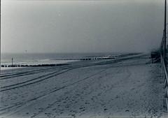 on the beach - Rockaway, Queens (NY) 1993 (rik-shaw (look 4 light)) Tags: solitude atlanticocean desertedbeach rockawaybeach easternseaboard longislandbeaches newyorkcitybeaches blackandwhiteseashore northeastunitedstatescoastline