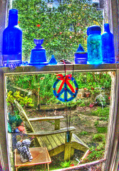 HDR Window View with Christmas Ornament (Walker Dukes) Tags: sanfrancisco california wood flowers blue decorations roses plants black macro green angel bells garden table wooden succulent bottle chair flora peace bottles god plaster pots tinsel jar ribbon sfbayarea pan cupid peacesign horticulture succulents