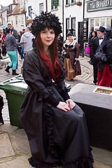 7D0029 Lovely Red Haired Lady - Whitby Goth Weekend 3rd Nov 2012 (gemini2546) Tags: nov red goth week satin 3rd long black 2470 canon sigma dress hair 7d lens lovely lady hat whitby 2012 feathered victorian