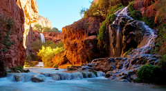 Below Mooney Falls (Rob Kroenert) Tags: arizona usa creek waterfall high long exposure dynamic native indian grand az canyon falls american havasu mooney range hdr reservation supai havasupai mooneyfalls