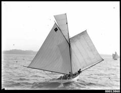 Gaff rigged skiff SAPPHO on Sydney Harbour