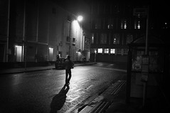 Night Walker (Nick Lambert!) Tags: street shadow blackandwhite bw night walking scotland fuji walker ayr streetscape fujix100
