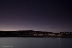 Moonlight over the harbour. (Canon Queen Rocks (1,610,000 + views)) Tags: houses sea sky moon water buildings reflections landscape dawn lights harbour scenic hills wicklow