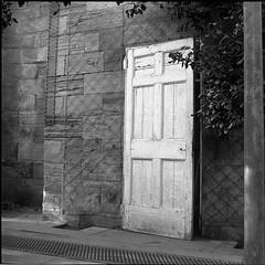 Camelia House (aiherzen) Tags: park door blackandwhite bw sculpture house 120 6x6 tlr film square kodak iso400 yorkshire trix 400tx camelia 13 ilford yashica ysp yashicamat yashinon microphen 22mins