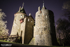 Castle Coch Twilight (Glenn Radford GRP) Tags: uk sky castle history southwales wales stars photography countryside scary twilight king princess unitedkingdom fort glenn gothic rich cardiff victorian prince oldbuildings medieval spooky moonlight british welsh wealthy fighting hillside moat fortress turret winternight radford castell revival starlight coch castlecoch redcastle tongwynlais summerhome williamburges brightstars glennradford