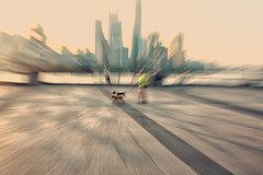 urban implosion~ Shanghai (~mimo~) Tags: bund china shanghai sunrise streetphotography street blur zoom icm intentionalcameramovement dogs people city skyline pudong puxi huangpu river promenade urban