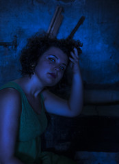 BLACKBOX (ALESSANDRA V3) Tags: girl makeup fashion fashionphotography portrait portraits people neon neonlights lights blue bluelight bluelights person eyes lips