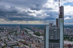 View over City to the East (since 1960) Tags: europa europe deutschland germany hessen frankfurtammain stadt city skyline hochhaus skyscraper himmel sky wolken clouds