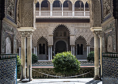 Alcazar Courtyard (Hans van der Boom) Tags: europe spain vacation holiday seville sevilla alcazar palace gardens courtyard patio gothicpalace shrubbery columns arches sp
