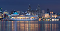 Artania Hamilton docked in Liverpool (SiKenyonImages) Tags: liverpool waterfront bluehour cruiseship dock threegraces pierhead albertdock mersey ferries longexposure river