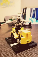 Clark Tow Tractor WIP with F-104 (Isaac Fu007) Tags: rocaf f104 starfighter clarktor towtractor lego