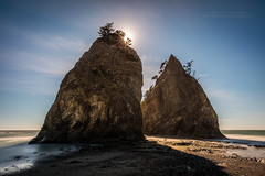Sea stacks at low tide (PIERRE LECLERC PHOTO) Tags: seastack sea islands rock olympicnationalpark np washingtonstate landscape nature outdoors pacificnorthwest longexposure metalprints canvasprints pierreleclercphotography framedprints prints seascape canon5dsr rialtobeach beach sand waves silhouette