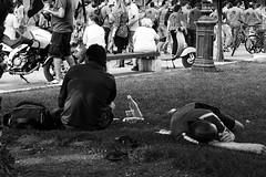 Homeless? drunk? and protesters (akis_zat) Tags: thessaloniki nikond5200 protesting homeless monochrome blackandwhite