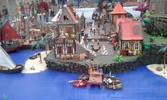 Isla pirata (lalex24) Tags: exposicionplaymobil playmobil islapirata puerto playa barca clikn clak gato escorpion estrellademar lagartija burro carro