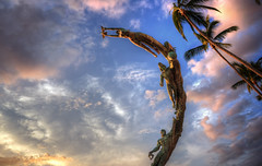 Peace, take me with you (Israel DeAlba) Tags: peace sculpture sky clouds milenios puertovallarta mexico israeldealba cielo nubes jalisco atardecer