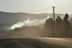The home fires burning (Ian@NZFlickr) Tags: lawrence otago morning frost mist smoke home fires burning road nz