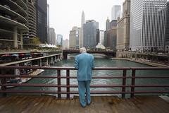 Man on the Bridge (mckenziemedia) Tags: streetphotography bridge river chicago illinois man suit back buildings city urban skyline canon 5d markiii 1740mm
