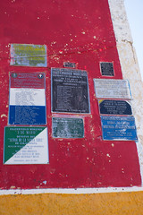 Chapel Plaques (ellyoracle77) Tags: bolivia copacabana chapel church 2demayo 2ndmay labourday plaque red yellow blue