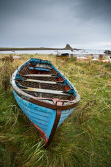"Blue Boat and Lindisfarne Castle • <a style=""font-size:0.8em;"" href=""https://www.flickr.com/photos/21540187@N07/8154188449/"" target=""_blank"">View on Flickr</a>"